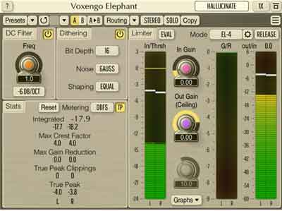 Voxengo Elephant 4.14 mastering limiter plugin released